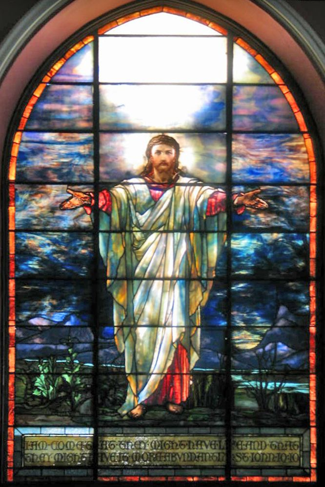 Tiffany Jesus Window In Pullman Memorial Universalist Church Stained GlassStained