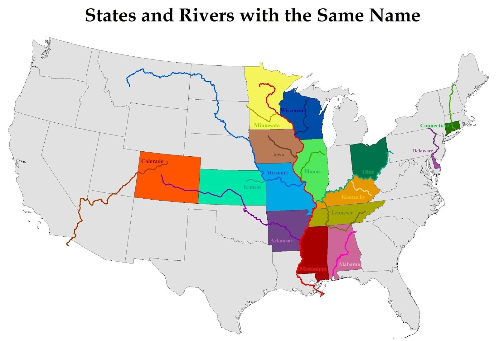 States & Rivers with the Same Name | Map, State map ...