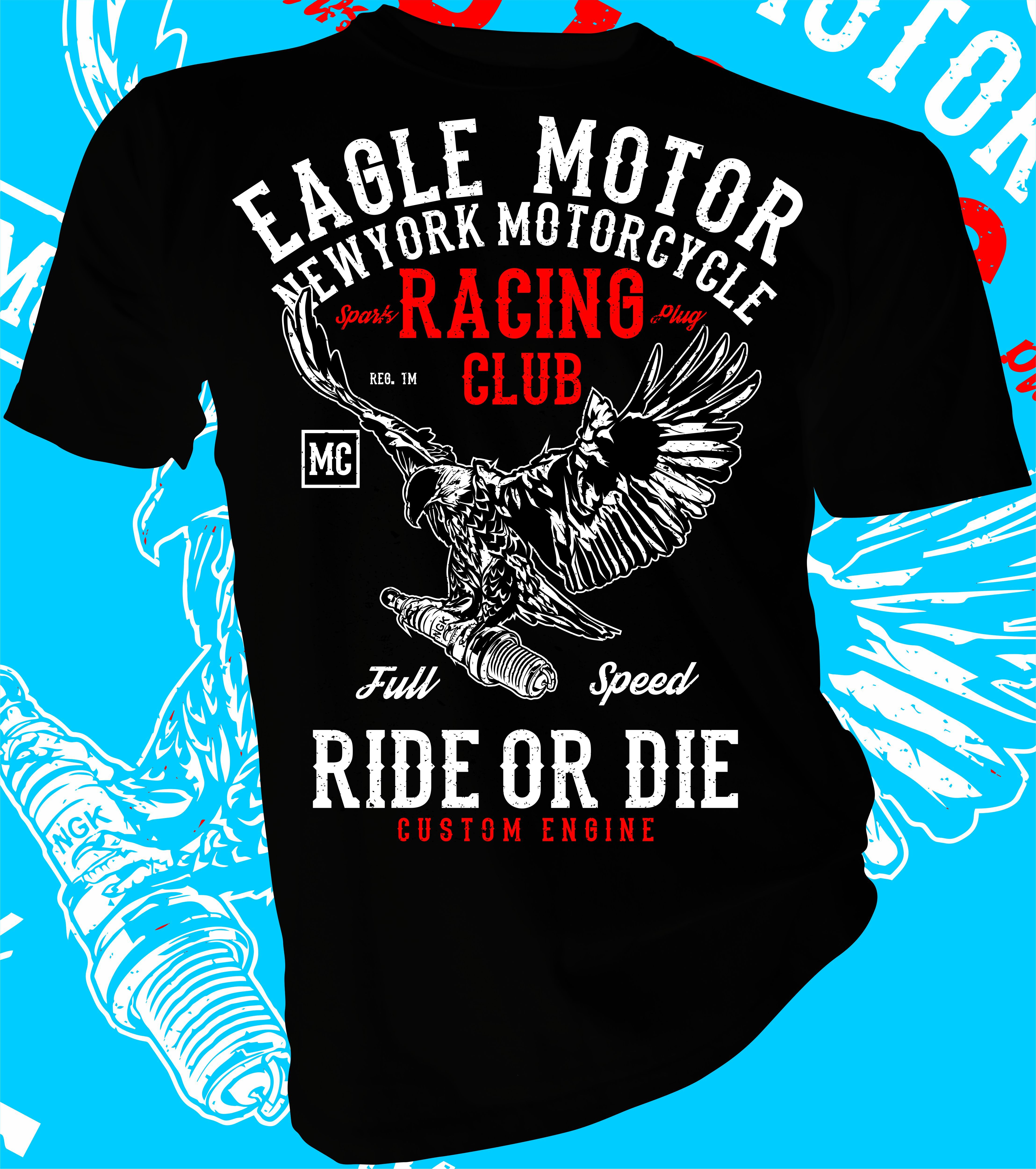 Motorcycle Speedway Eagle  Men/'s Tee Image by Shutterstock