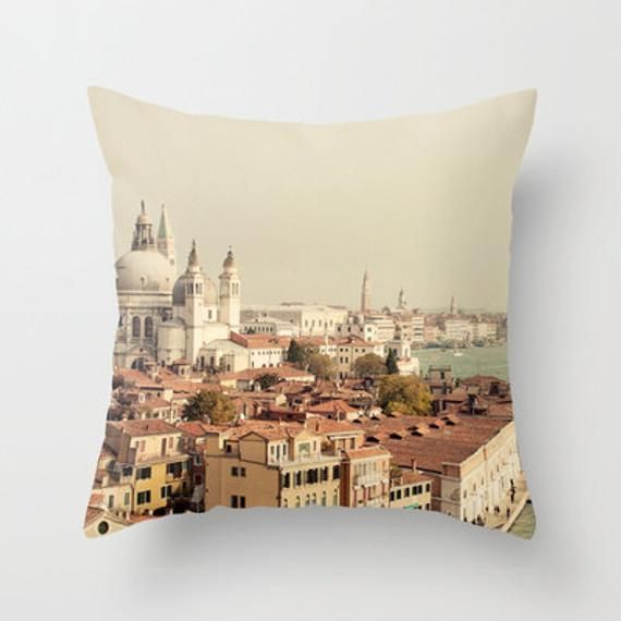 Photo of photography throw pillow, venice italy  pillow cover, blue home decor, europe, travel, architecture, landscape, City of Venice