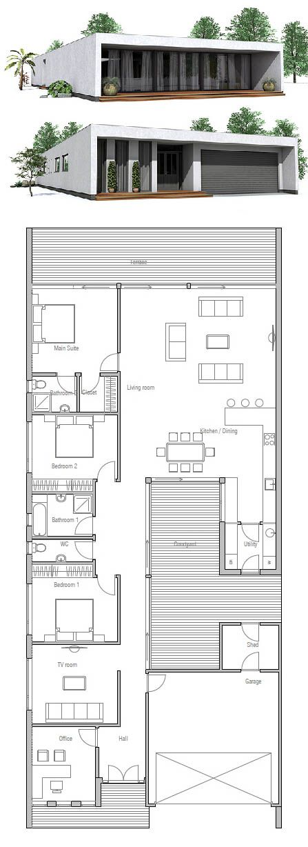 Plan de Maison, Petite Maison Plus PLANOS CASA Pinterest - plan de maison simple