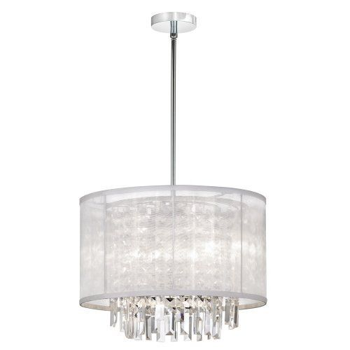 Dainolite crystal pendant with white organza shade polished chrome crystal organza