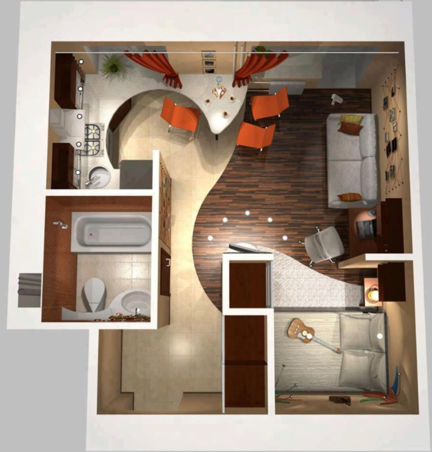 Planos de apartamentos peque os en 3d minis pinterest - Disenos de apartamentos pequenos ...