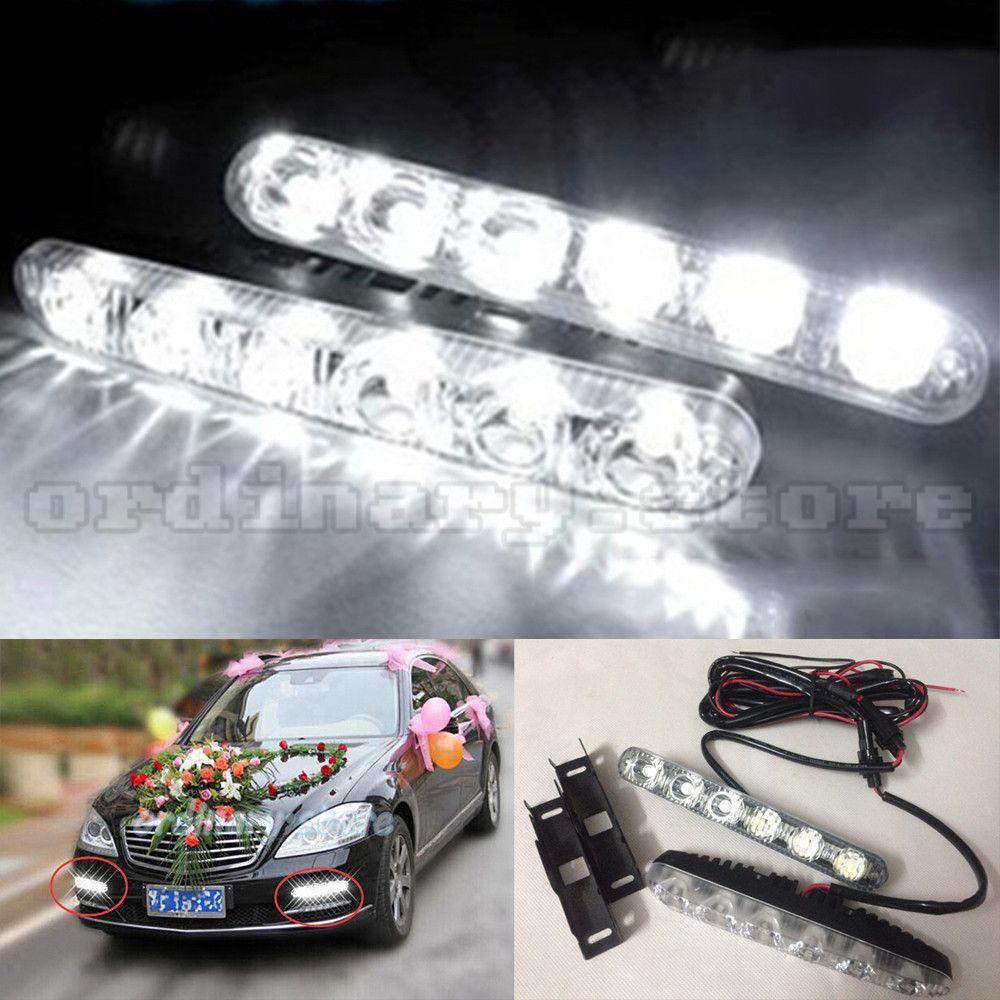 2x Xenon White Super Bright DRL Daytime Running Driving Lights Fog Lamps 6 LED