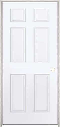 Mastercraft 36 X 80 Primed Woodgrain 6 Panel Int Door Lh At
