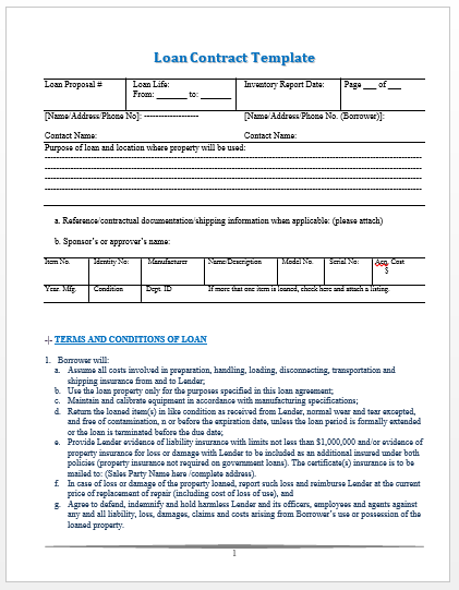 Loan Contract Template  SchoolWork