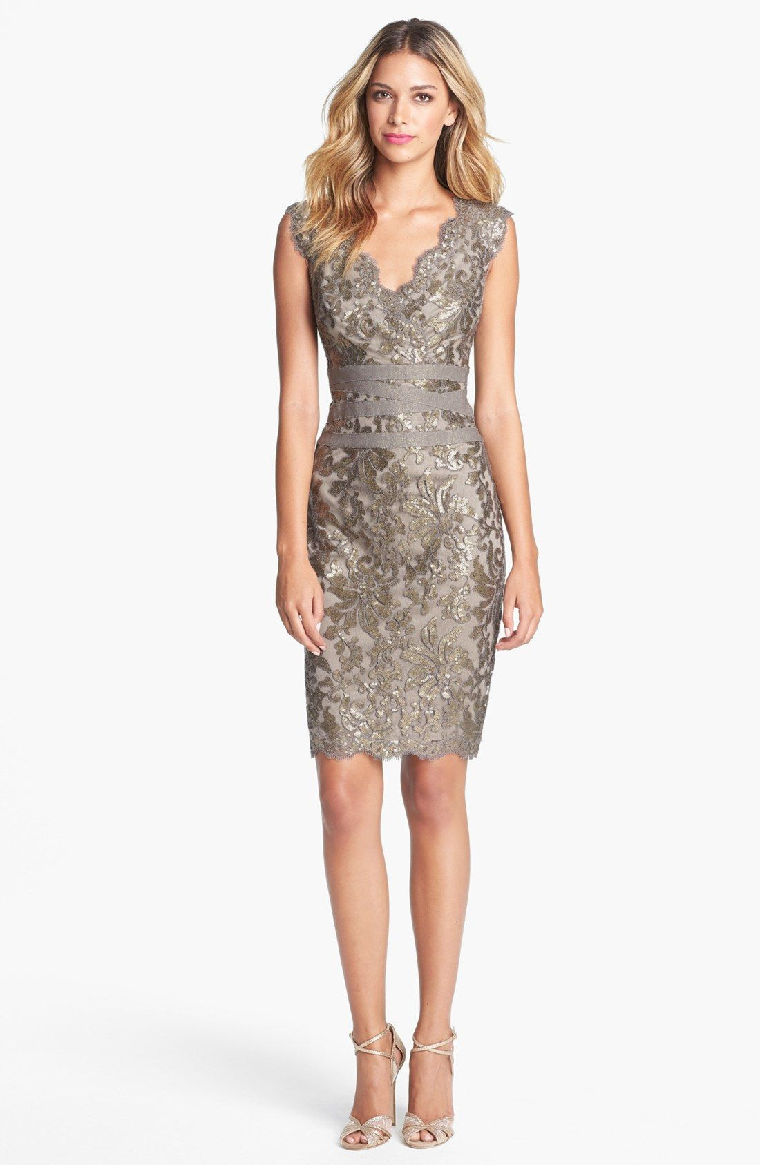 Tadashi Shoji Embellished Metallic Lace Sheath Dress | Nordstrom ...