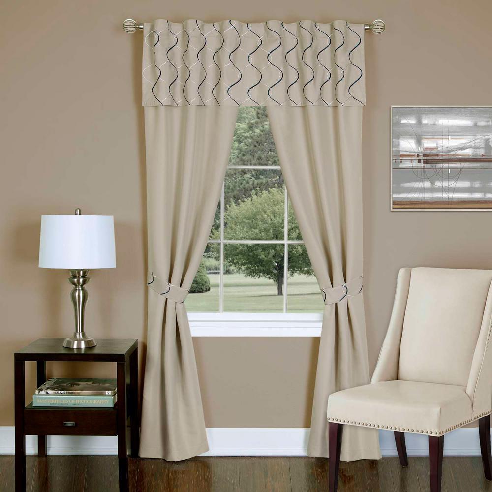 Achim Sheer Trellis Tan Window Curtain Set 55 In W X 63 In L Trpn63tn12 Panel Curtains Drapes Curtains Curtains