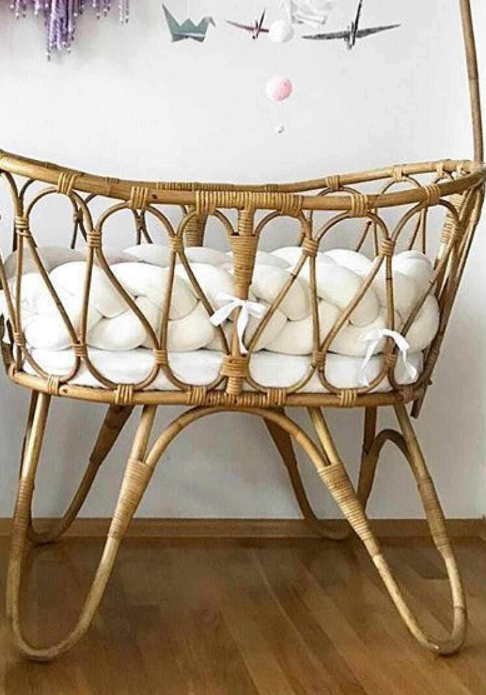 Braided Cot Bumpermoses Basket Bumper Etsy Baby Moses
