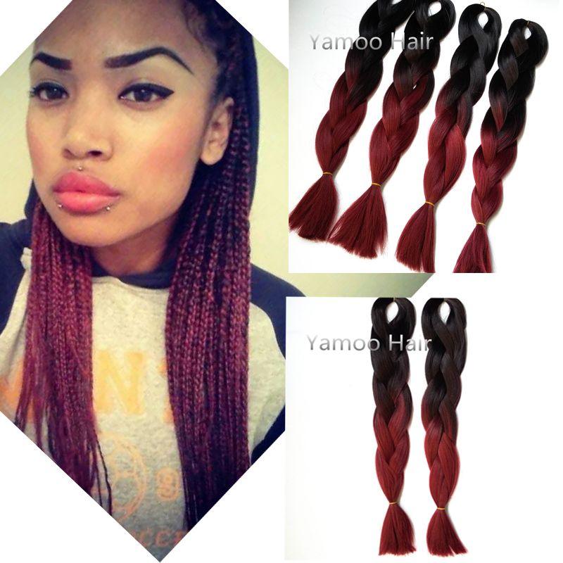 wholesale Amaze burgundy Ombre African Box Hair Braiding Expression  Kanekalon Jumbo Braid Hair Extension 24