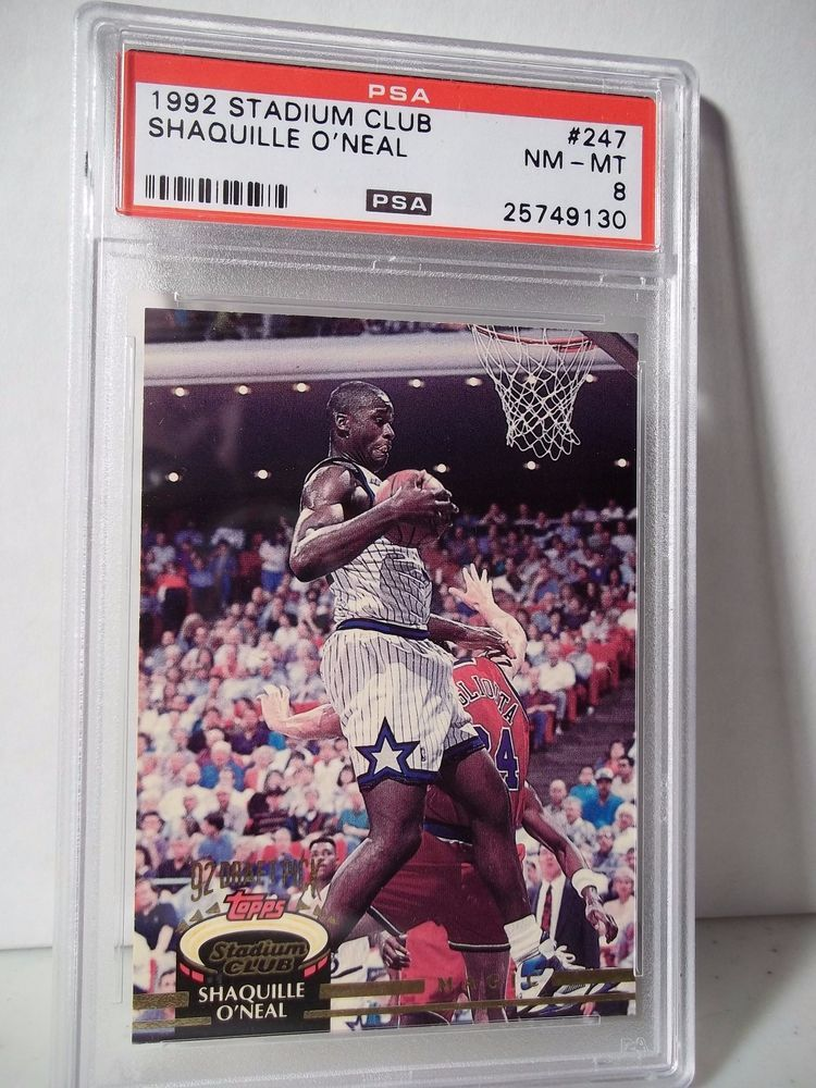 1992 Stadium Club Shaquille O'Neal RC PSA NM-MT 8 Basketball Card #247 NBA…