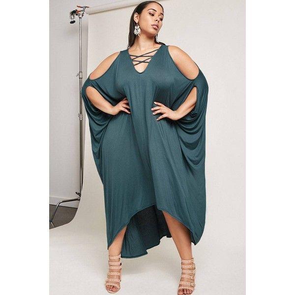 Plus size batwing maxi dress