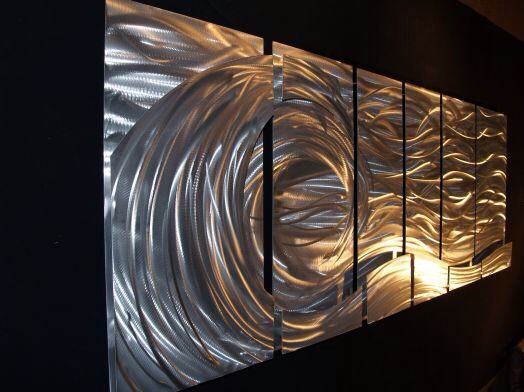 3d Brushed Metal Art Abstract Metal Wall Art Metal Wall Art Glass Wall Art