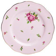 "Royal Albert New Country Roses Pink Formal Vintage Salad Plate, 8.3"""