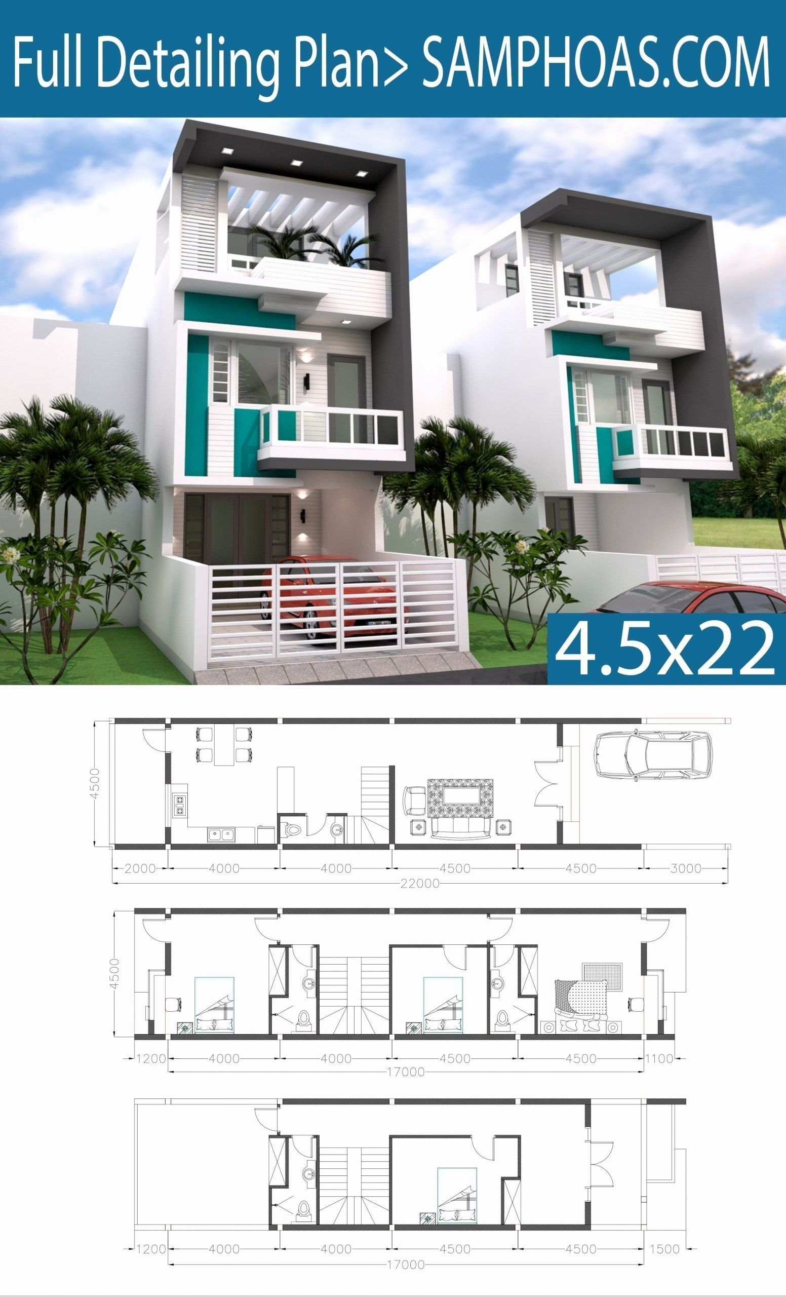 Narrow Home Design Plans Beautiful Sketchup 3 Story Narrow Home Plan 4 5x20m Samphoas Plan Narrow House Plans Architectural House Plans Model House Plan
