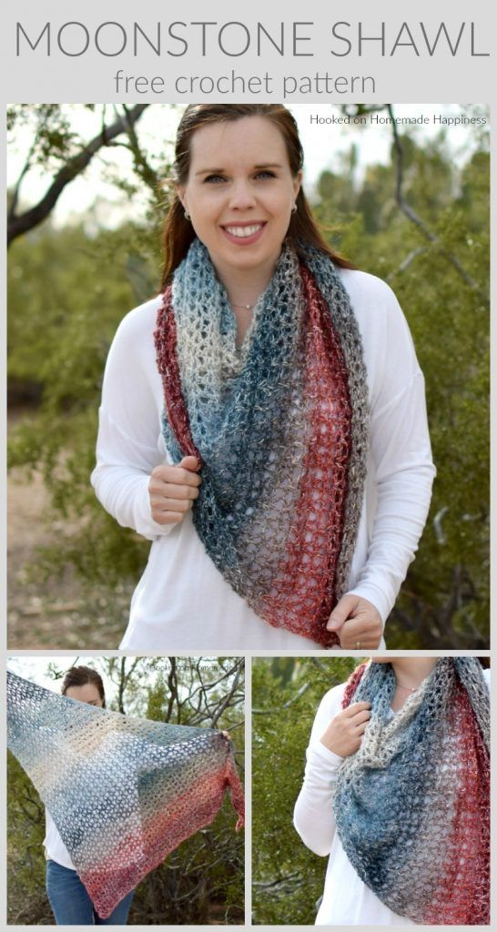 Moonstone Shawl Crochet Pattern #shawlcrochetpattern