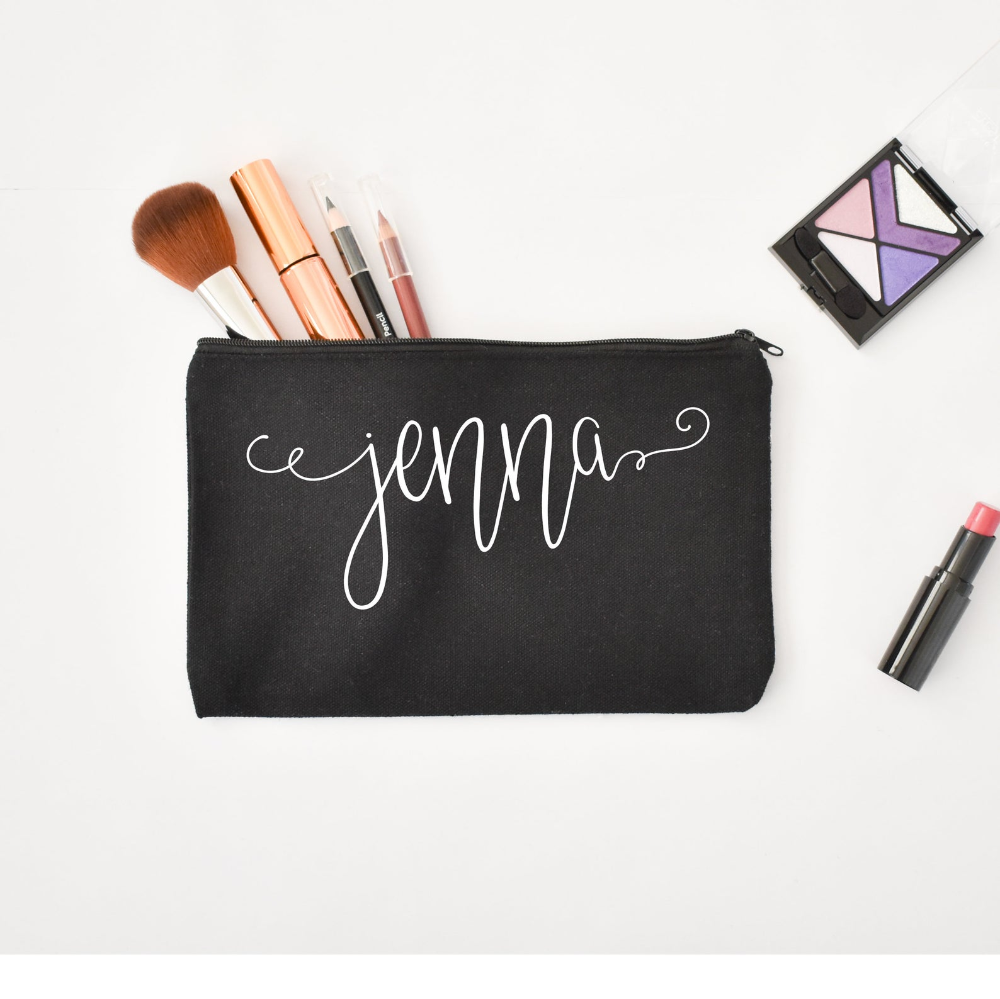 Personalized Makeup Bag Custom Zippered Pouch Black
