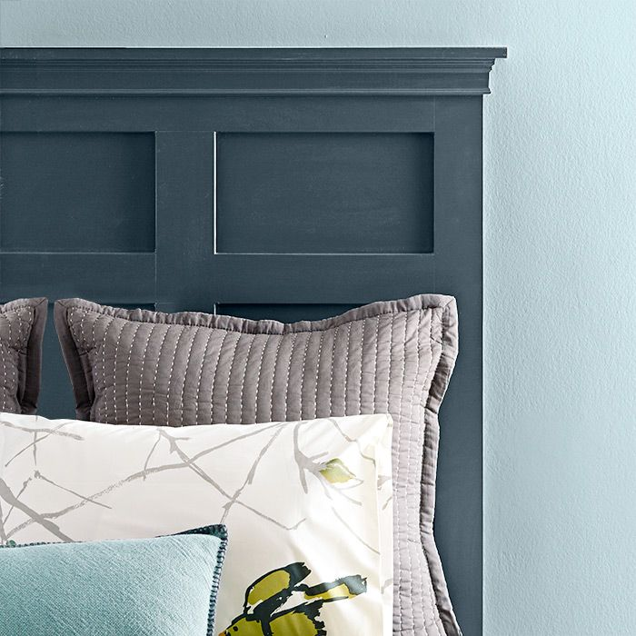 Choose A Dark Headboard Color To Contrast With A Light Wall Shade Headboard Storage Refinished Headboard Painted Headboard