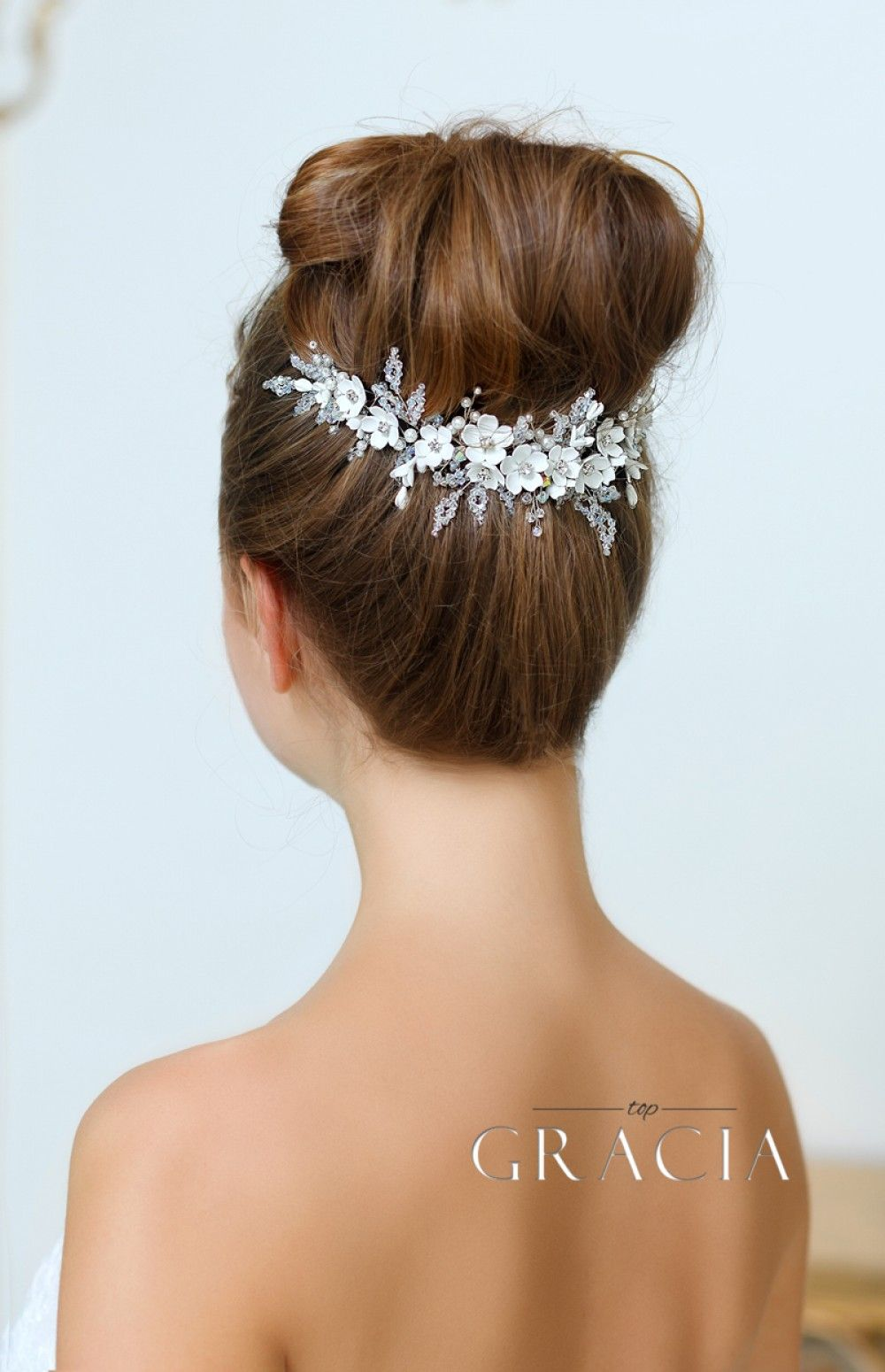olympia ivory crystal and flower wedding hair comb