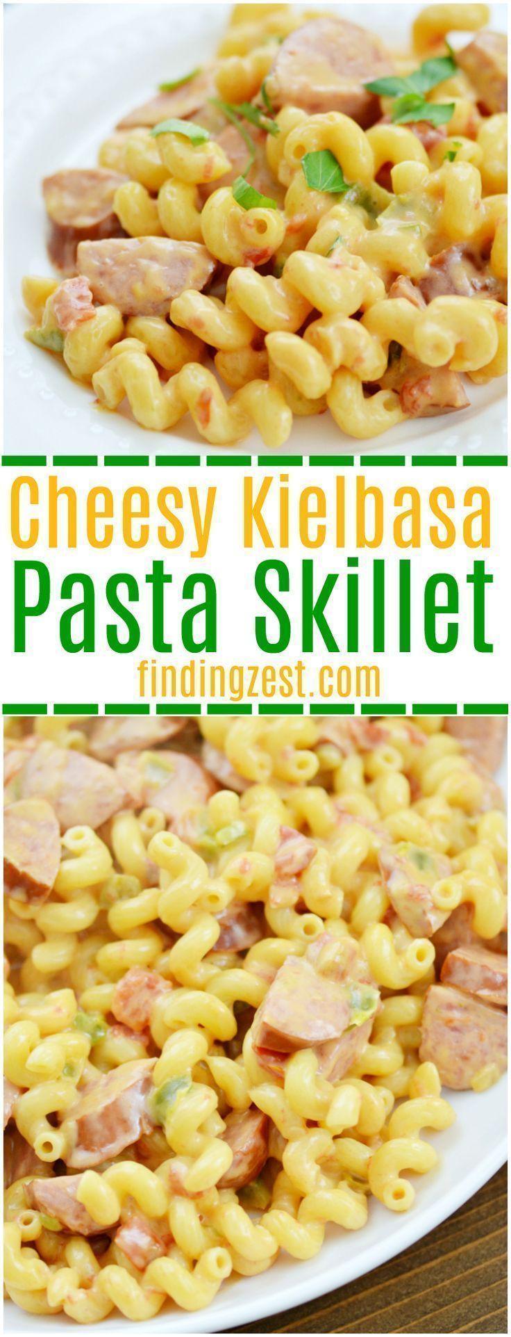 Cheesy Kielbasa Pasta Skillet