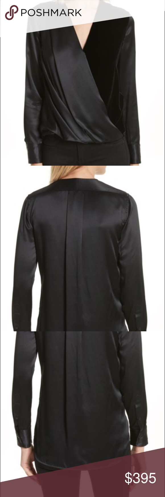 53474a17015db Rag  amp  Bone  Victor  Silk  amp  Velvet Blouse This drapey surplice top
