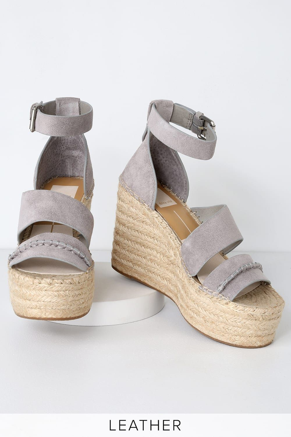 97062749ee60 Simi Smoke Suede Leather Espadrille Wedges in 2019