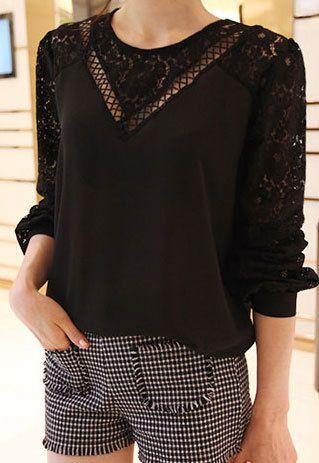 Black White Crisscross Cutout Loose Fit Lace Blouse Top
