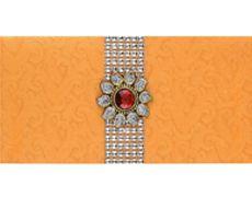 indian wedding envelope in sunshine orange red brooch design