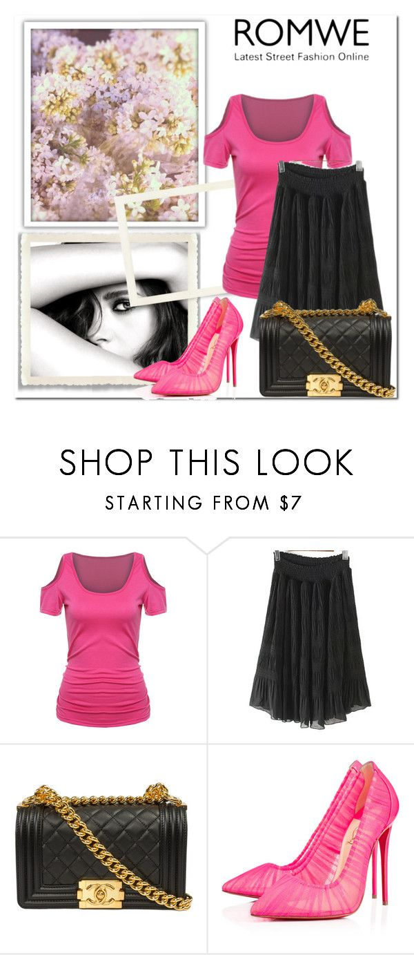 """Romwe 12/7"" by amelaa-16 ❤ liked on Polyvore featuring Chanel and Christian Louboutin"