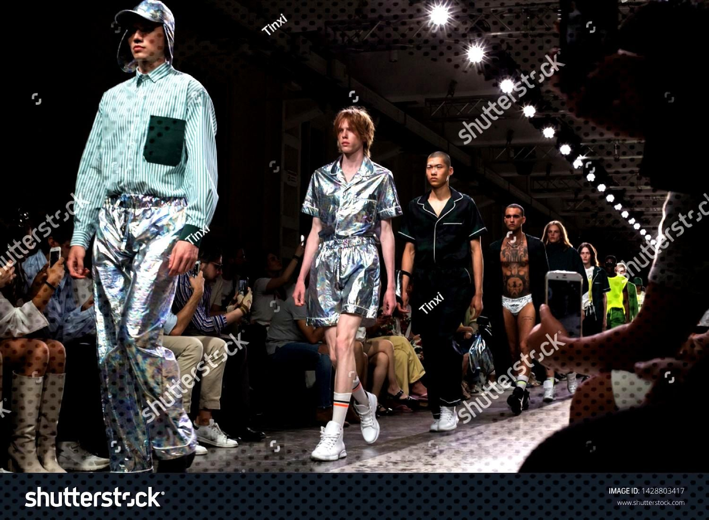 MILAN, ITALY - JUNE 17 Beautiful models walk the runway at David Catalan show during Milan Mens F