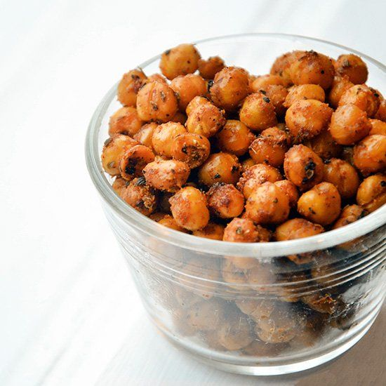 Healthy, full of protein and with a kick, these spicy baked chickpeas make a great snack in a pinch.