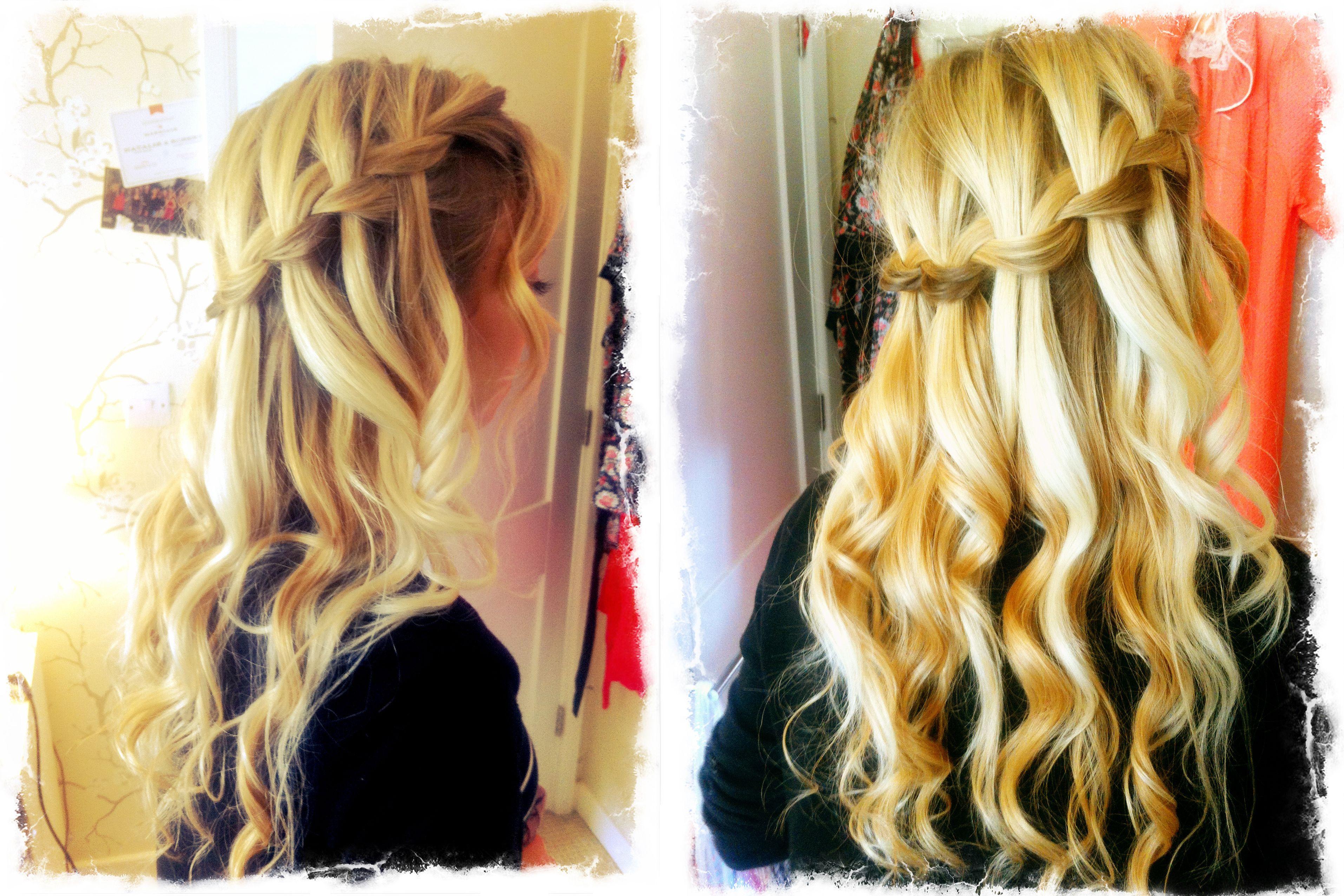 boho waterfall braid wedding hair, half up www.kitty-boo.co.uk ...