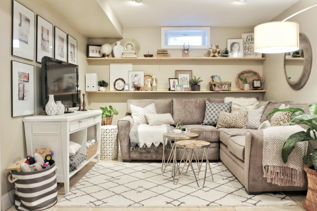 Cozy Basement Family Room Reveal Basement Living Rooms Cozy