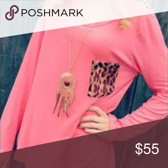 "NWT✖️""Shania"" Longsleeve Pink Leopard Pocket Top New with tags ! ✖️ Chic long sleeve pink blouse with leopard print front pocket ✖️ Cotton  blend ✖️ Size: Medium ✖️ No trades please! the Haute Holly-Would Hive LLC Tops"
