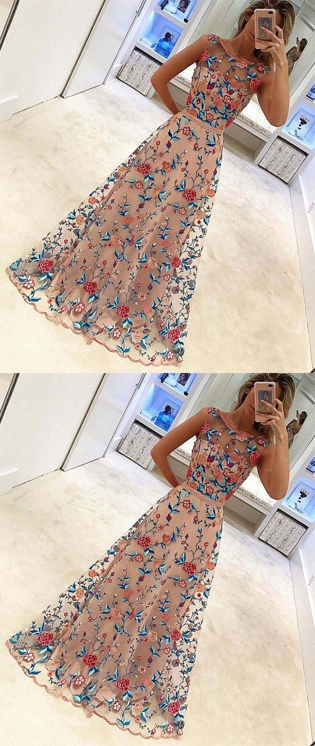 Unique floral embroidery long a line prom dress evening dress ok