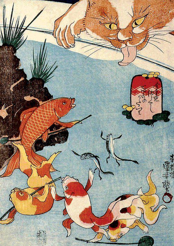 Japanese art prints cat and fish koi pond utagawa for Koi pond maine coon cattery