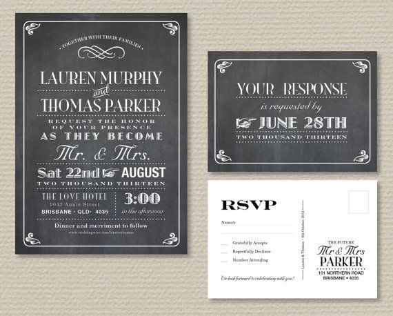 Printable RSVP Postcard   Printable Wedding Invitation & RSVP postcard - Vintage poster ...