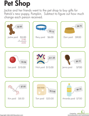 Making Change at the Pet Shop | Math worksheets, Worksheets and Math