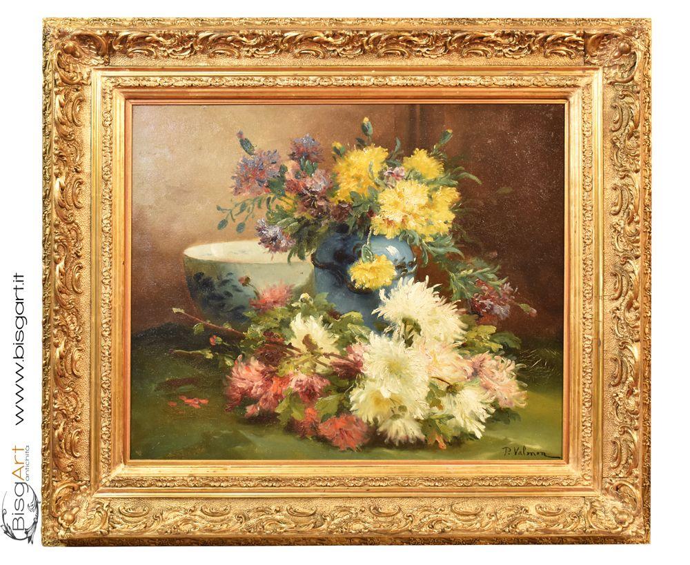 Dipinti antichi quadri di fiori, XIX secolo, pittura ad olio su tela ...