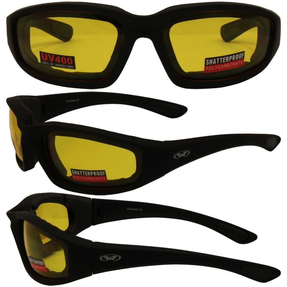 265df6a5b9 Kickback Motorcycle Glasses with Yellow Shatterproof Anti-Fog Polycarbonate  Lenses and Wind Blocking Foam
