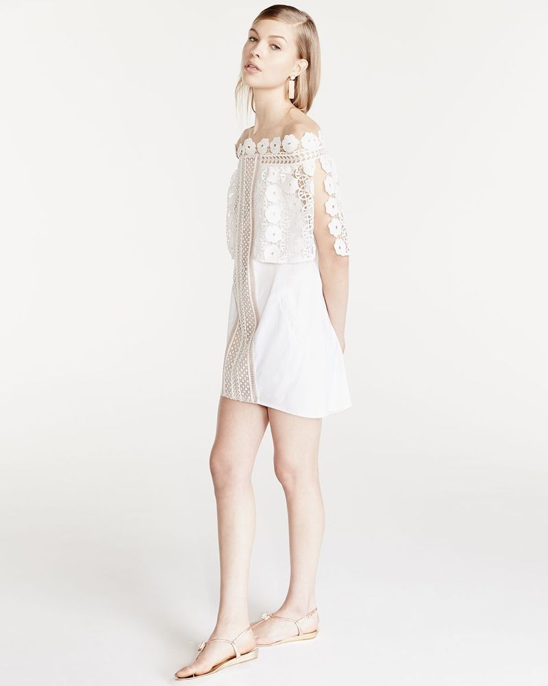 8884d9366ea17 Self Portrait Serena Off-the-Shoulder Poplin Dress in White for lookbook  2016 photoshoot