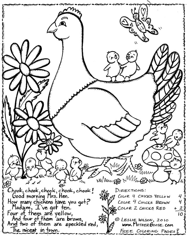 Mrs Hen Kids Rhymes To Colour Free Colouring Pages Coloring