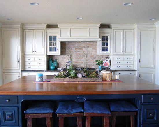 Navy Blue Cabinets White With Brick Backsplash Brick