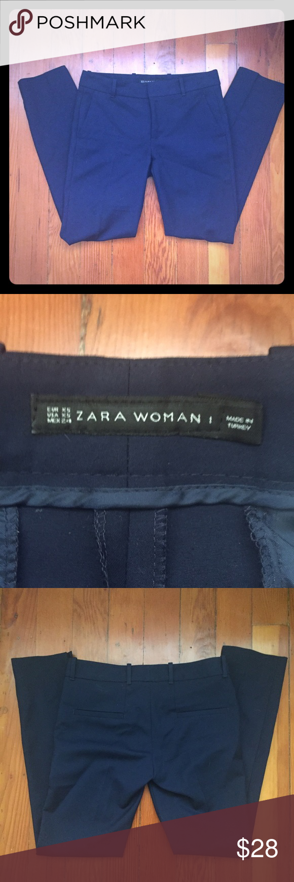 ZARA Woman slim pants Navy pants with a slim leg, simple welt back pockets, and diagonal front pockets that help to slim the frame. Classic versatile fit and style. Worn once. On Ⓜ️ercari for less.  Search for my name tikkapatel. Zara Pants Skinny