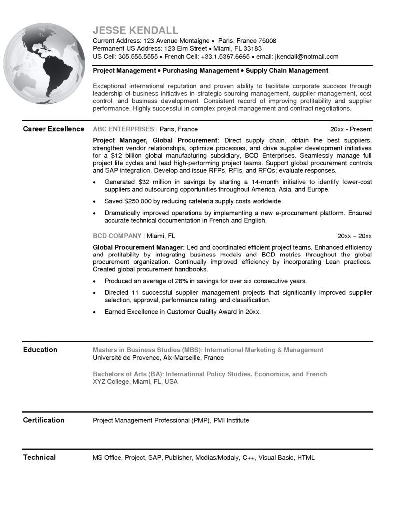 global procurement manager sample mplett purchasing resume agent ...