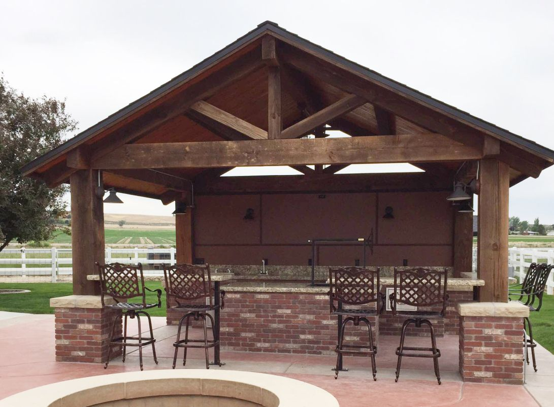 Timber Frame Outdoor Kitchen Pavilion Nampa Idaho Pavilion Design Outdoor Pavilion Patio Design