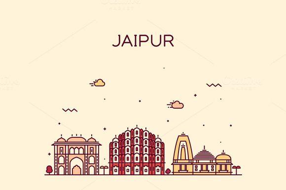 c6c38a39f3d4 Jaipur skyline (India) by grop on Creative Market