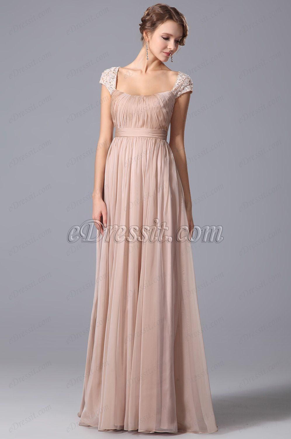 USD 79.99] A Line Evening Dress With Lace Cap Sleeves (00152946 ...