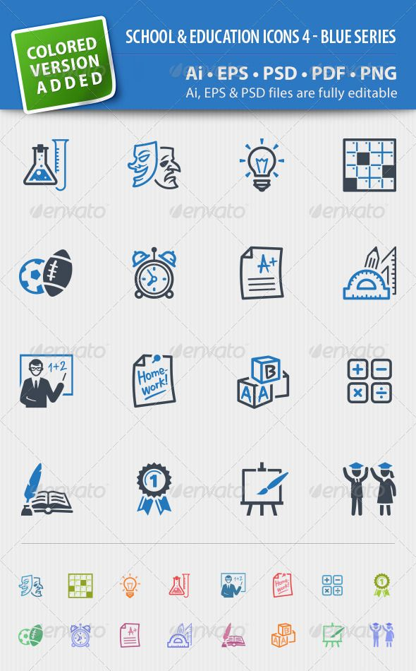 School And Education Icons Set 4 Blue Series Graphicriver Set
