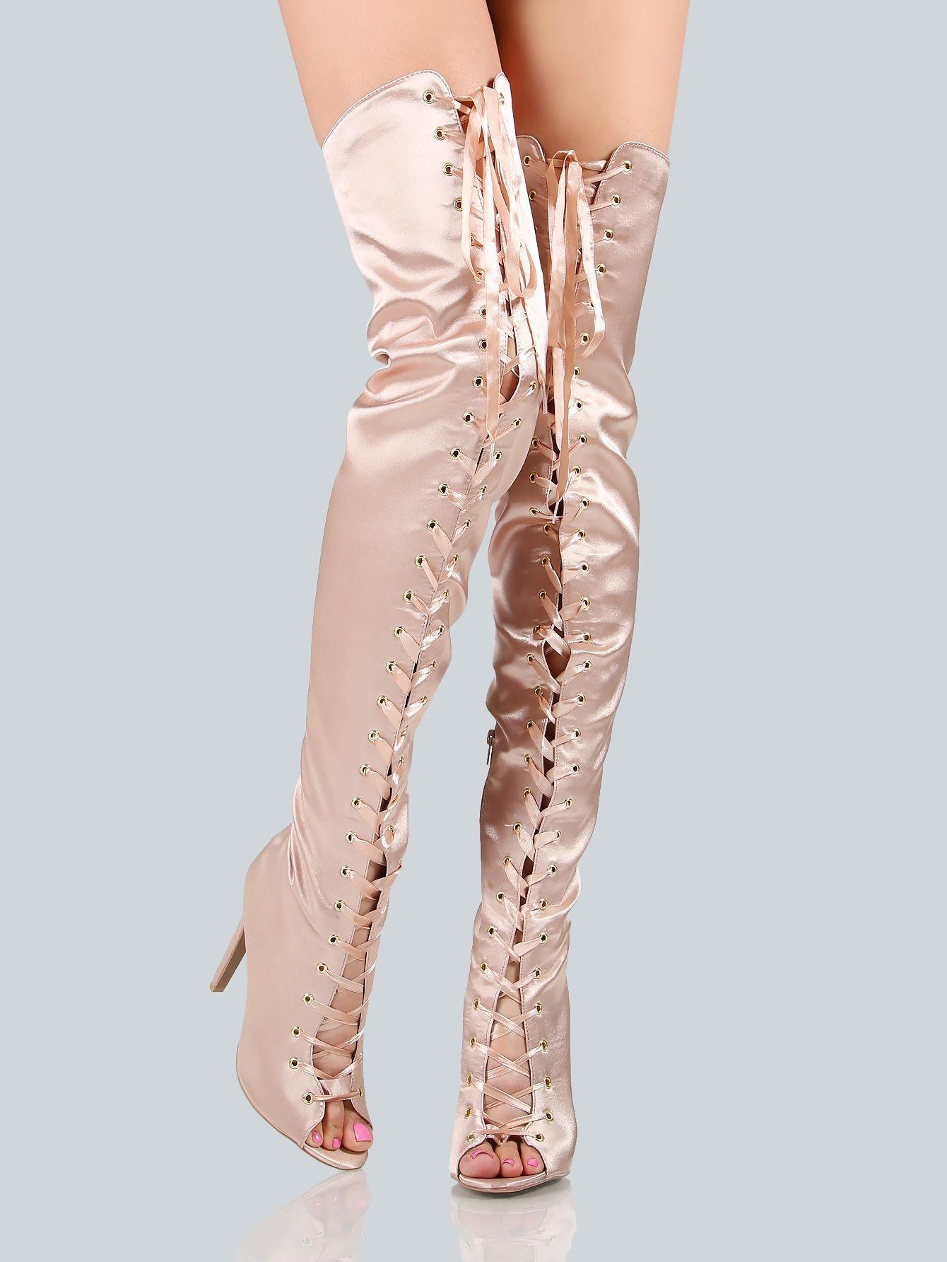 71fd821c803 Glamorous OTK/Thigh High No zipper Champagne High Heel Stiletto Lace ...